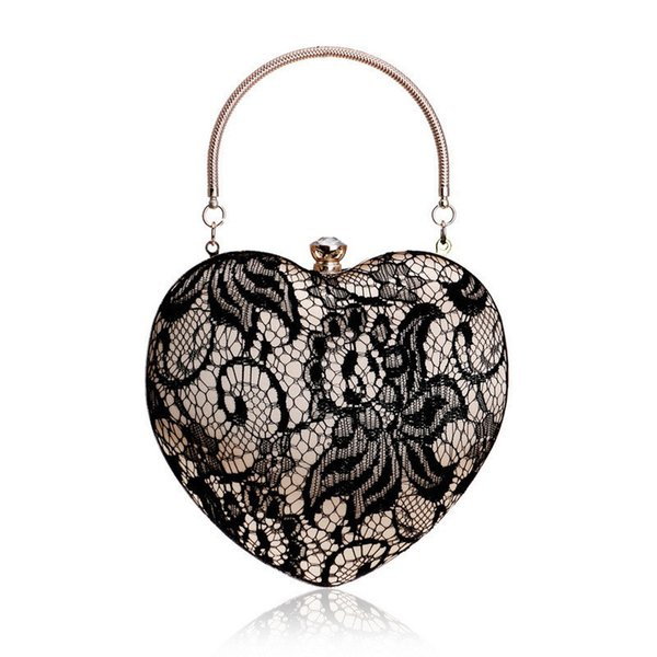 good quality New Retro Floral Lace Bag Luxurious Vintage Women Heart Shaped Evening Bag Elegant Lady Handbag Banquet Wedding Bridal Sac