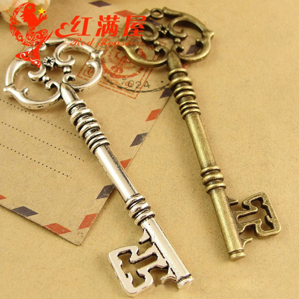 30*80MM Antique Bronze Retro vintage bulk silver key for sale accessories jewelry Korea new DIY, decorative key charm pendant