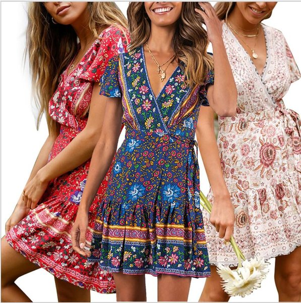 New European and American Women's Short Skirt in Spring and Summer of 2019 Amazon Exploded Short Sleeve V-Collar Printed Beach Dress
