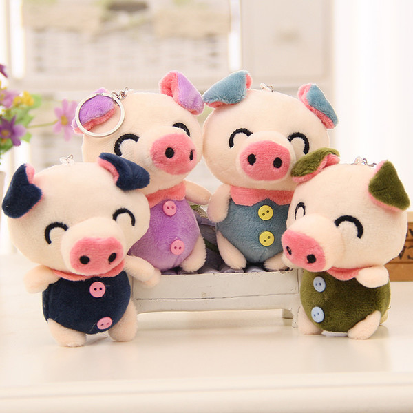 10cm New Cute Animal Blue Purple Plush Toys Soft Pig with Button Stuffed Doll for Girls Bag Decoration Children Birthday Gift