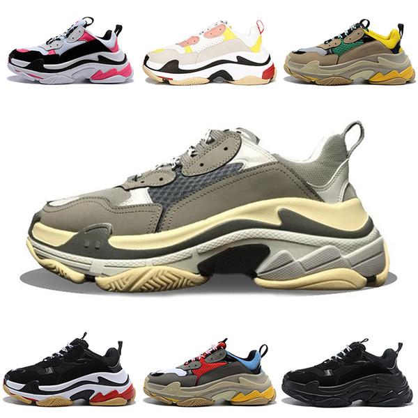 2019 formateurs de terrain Triple S 17FW sport Chaussures Casual pour homme femme plateforme en cuir papa Chaussures Noir Blanc Beige Chaussures Mode