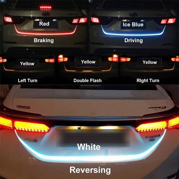 RGB Auto Tiras de LED Luz de freno Señal de conducción Luz de marcha atrás Tronco Señal de coche Luces de tira de flujo Lámpara de señal trasera trasera Dars 12V