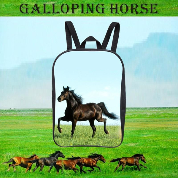 Popular 12-Inch Cool Printing Horse Baby Boy Animal Backpack Children Girls School Bags for Kids Bookbag for Student Bag