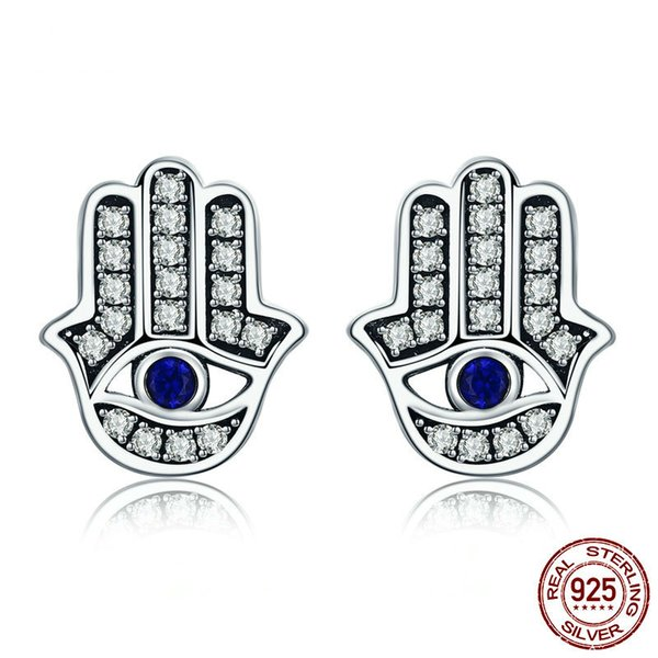 Trendy 100% 925 Sterling Silver Fashion Hamsa Hand Clear CZ Stud Earrings for Women Sterling Silver Jewelry Gift SCE389