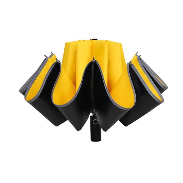 Regalo anti-UV antivento studenti striscia riflettente 3 Fold dom Pioggia Parasole protettivo rivestito automatico ombrello pieghevole Reverse