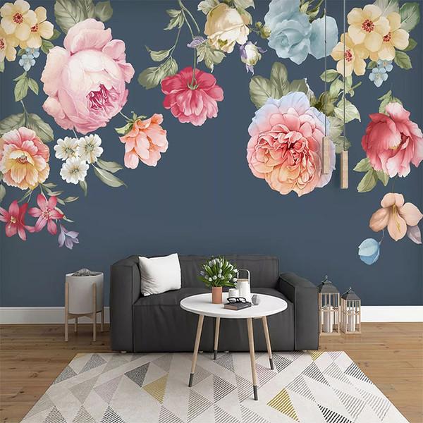 Personalizado Poster 3D Photo Wallpaper chinês estilo moderno mão Flor pintada Sala Sofá Quarto Fundo da parede Papel Mural