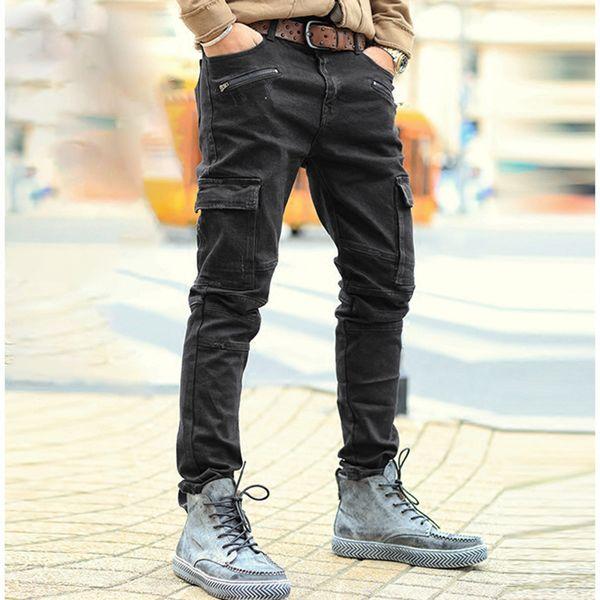 Men Autumn solid zipper casual washed jeans men jeans black high quality fashion multi-pockets trousers men brand design