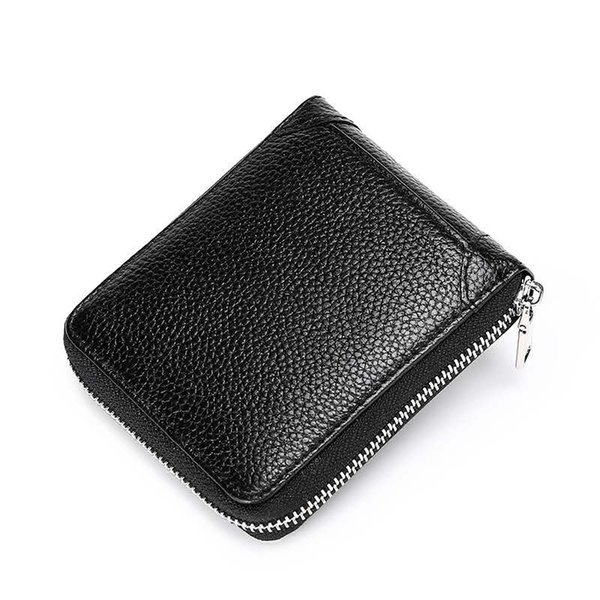 New RFID Preventing zipper mens fashion designer short wallet male casual cow leather zero purses brown/black no1729