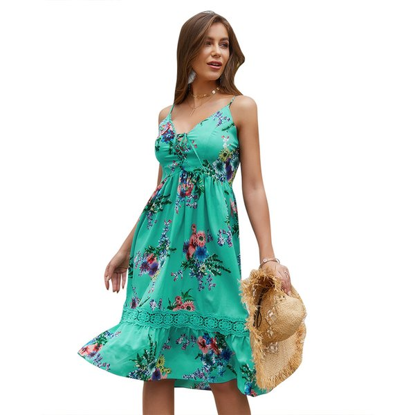 Women Strap Floral Print Dresses Summer Casual Vocation Ruffled Hem Panelled Lace Piping Back Zipper High Waist Midi Dress Green Red