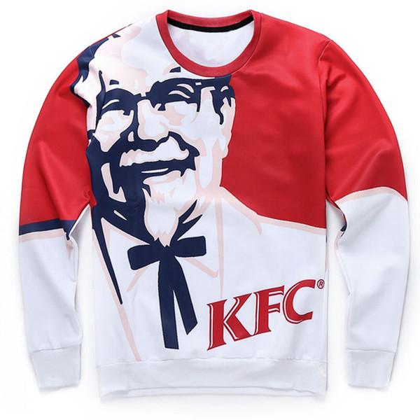 3D KFC Baskılı Moda Sonbahar Uzun Kollu Erkek Kazak Ekip Boyun Tasarımcı Tişörtü Kazak Hoodies S-5XL