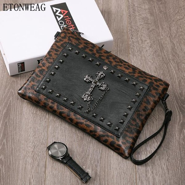 men handbag Leopard punk hand bag street cool rivet wrist bag fashion Leopard leather envelope multifunctional leather shoulder bag