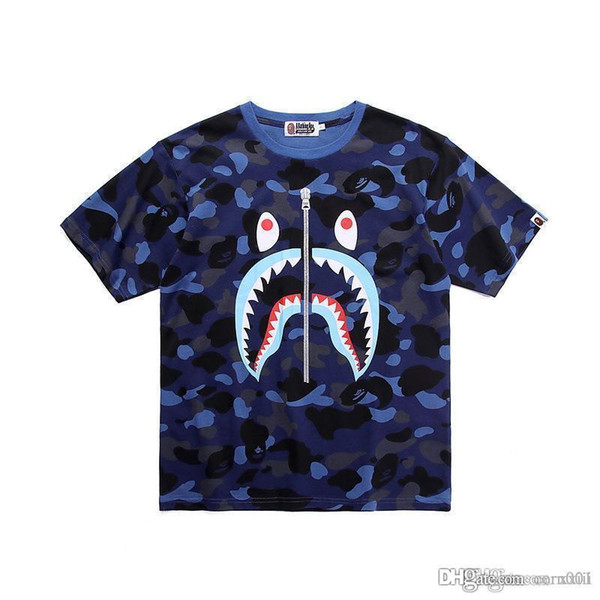 19SS Japanese New Men's T-shirt Shark Mouth Printed Pure Cotton False Zipper Teeth Printed Camouflage Short Sleeve T-shirt Summer Dress