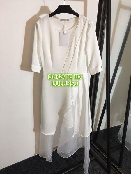 2019 Frauen Strass Shirt Kleider Organza Spleißen Diagonale Streifen Mit Diamantsaum Unregelmäßig Kurzärmlig Kleid S-M-L-XL