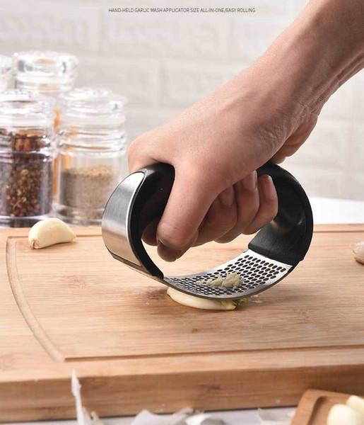 Creativo Conjunto de prensa de ajo Prensa de ajo + Silicone Garlic Peeler + Cepillo de limpieza Acero inoxidable Jengibre Trituradora Picadora Picadora