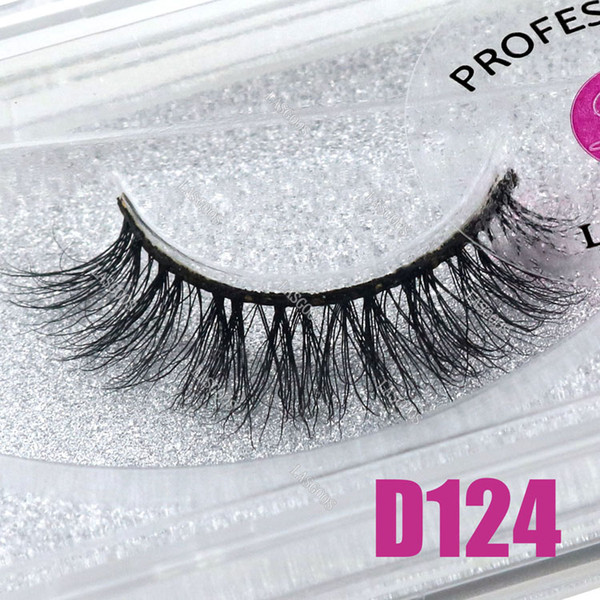 LASGOOS 1 Pair Boxed 100% Mink 3D Fluffy C Curl Fake Lashes Eye Downy Short 11mm False Eyelashes D124