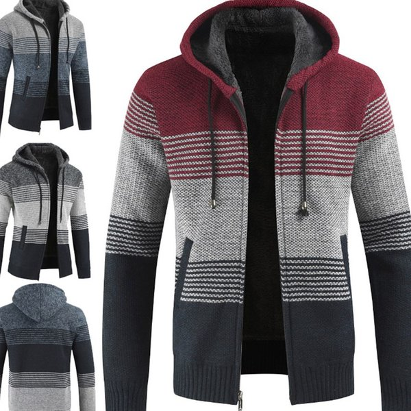 Men Warm Streetwear Top Coats Hooded Long Sleeve Sweater Knitted Cardigan Fashion Jacket Sweaters Plus Size M-3XL