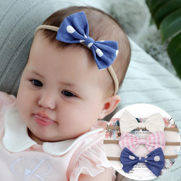 Europa Mode Säuglingsbaby Mädchen Bogen Stirnband Bowknot Niedlichen Kopf Elastisches Haarband Stirnbänder Bandanas Haarbänder