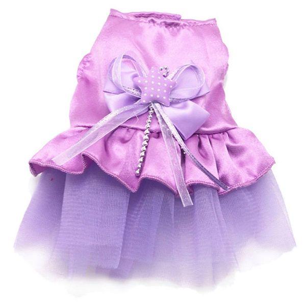 Dog Cat Bow Tutu Dress Lace Skirt Pet Dog Costume Clothes purple