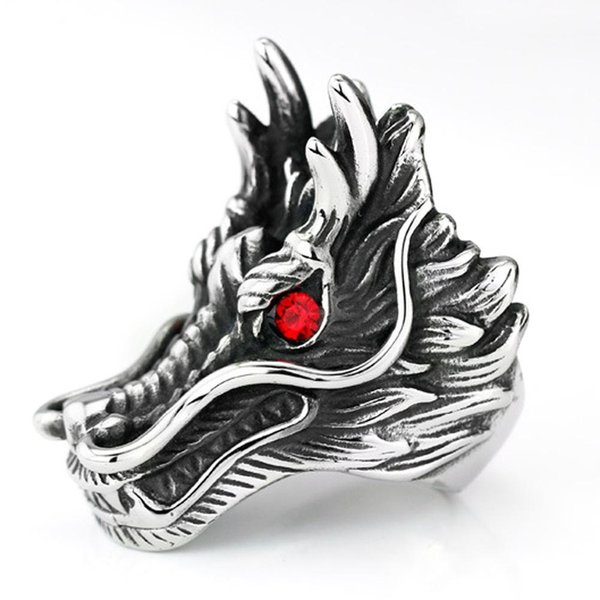 2017 new hot sale Dragon Head Rings For Men Punk Rock Style Red Stone Rings Party Jewelry personalized exaggeratedAbout Shipping1.