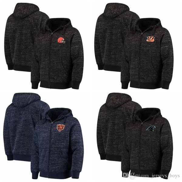Cleveland Cincinnati Marrom Bengals Chicago Carolina Bears Panteras G-III Esportes por Carl Banks Descoberta Sherpa Jaqueta Full-Zip Heathered N