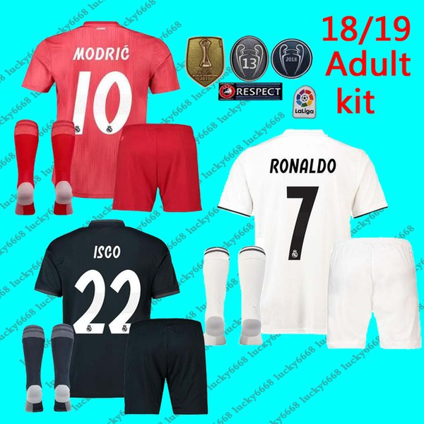 the best attitude 874fb 79ec8 2019 New 18 19 Real Madrid Adult Kit + Sock Soccer Jersey RONALDO ISCO  ASENSIO BALE RAMOS BENZEMA Man Jerseys 2018 2019 Football Shirts Set From  ...