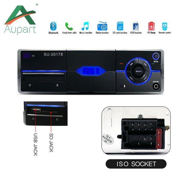 1 din Car radio MP3 audio player Bluetooth hands-free FM stereo Supports car holder USB2.0 SD AUX audio playback USB charger 12V