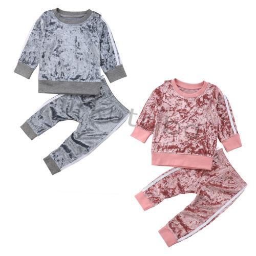 Emmababy 2Pcs Kids Baby Boys Girls Sports Casual Velvet Autumn Suit Outfits Set