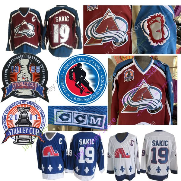 Joe Sakic Jersey 1996 Stanley Cup 2012 Hall Of Fame Colorado Avalanche Quebec Nordiques Eishockey Trikots