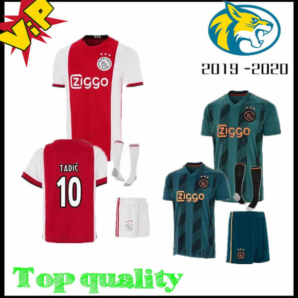 2019 2020 new Ajax Soccer Jersey home and away Soccer Jersey adult 19 20 complete men's soccer T-shirt family children suit Fans Top