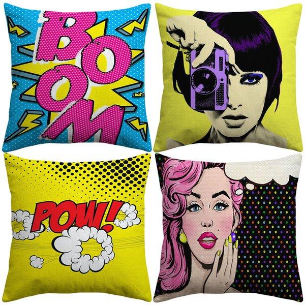 Американский поп-арт чехлы POW POP BOOM камеры красные губы наволочки декоративные льняные хлопок наволочка для украшения спальни