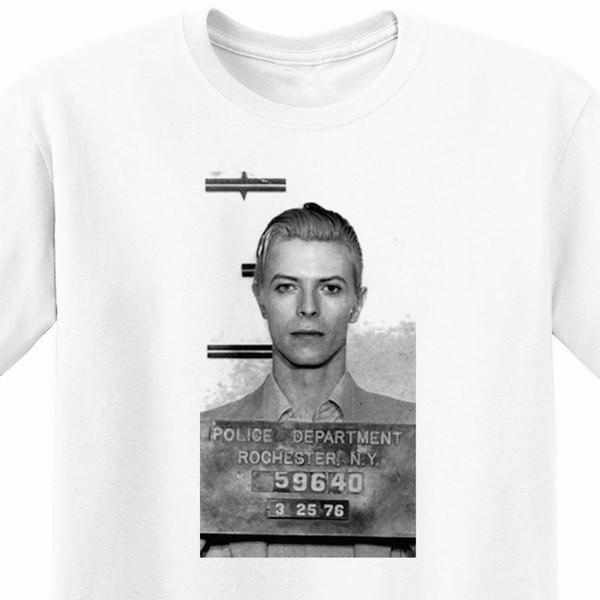 Yeni David Bowies 1976 Mugshot erkek Giyim Tişört boyutu S-2XLFunny ücretsiz kargo Unisex Rahat Tshirt