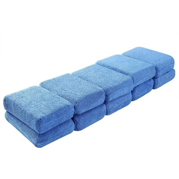 Wax Applicator Pads - Pack 0f 10 Car Detailing Sponges Washable Soft Foam Application Pads For Polish (Blue)