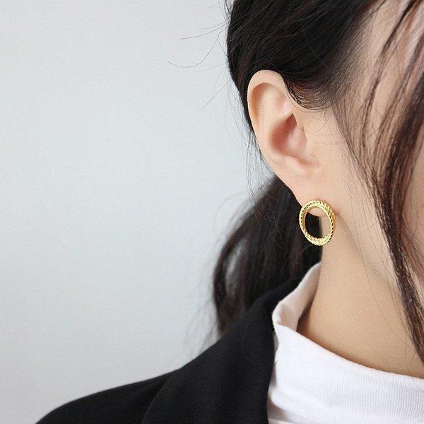 BODYA Sterling Silver Double Layer Twist Earring Studs for Women Girls