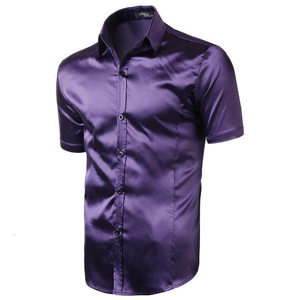 Nice, New Mens Marca Moda Imite real Silk Luz do homem de manga curta Slim Fit Masculina Casual Chemise Camisa Camisas de vestido