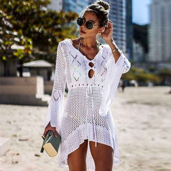 Bikini cover ups summer women beach cover up dresses crochet white swimsuit sexy mesh hellow knitted beach tops swimming suits wholesale
