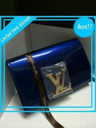 2019 M94269 Patent leather evening bag peacock blue LONG CHAIN WALLETS KEY CARD HOLDERS PURSE CLUTCHES EVENINGNew