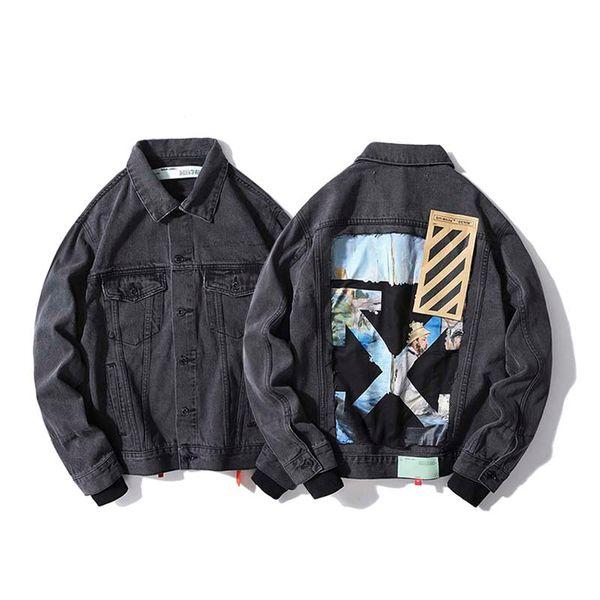 Осень новая картина маслом граффити шить с длинными рукавами пару моделей корейских красивый джинсовый пиджак куртка прилив мужчин