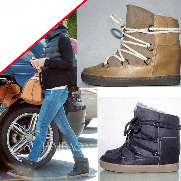 Hot Sale Wedge Suede Lace Up Winter Warm Snow Boots Shoes Fur Woman Ankle Booties Height Increasing Round Toe Casual Shoes