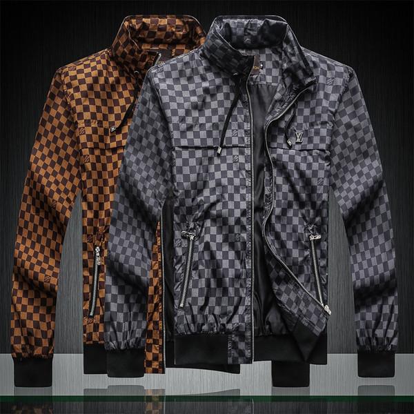 Erkekler Ceket Kaban Güneş Kremi Rahat Erkek Giyim Ceketler Mektubu ile Baskılı Yaka Kapüşonlu Siyah Rüzgarlık Streetwear M-3XL B8
