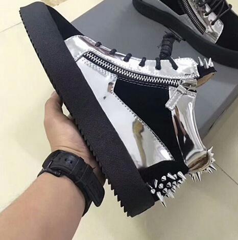 2019 nova marca designer de alta top zanotti sapatos casuais, outono de couro dos homens e das mulheres, primavera sapatos baixos 35-47 pares