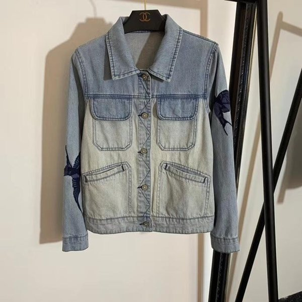 marque Femmes Denim Veste Denim couture femmes vêtements Jeans Femme Manteau à manches longues Slim Outwear de haute qualité Womens Denim Jacket