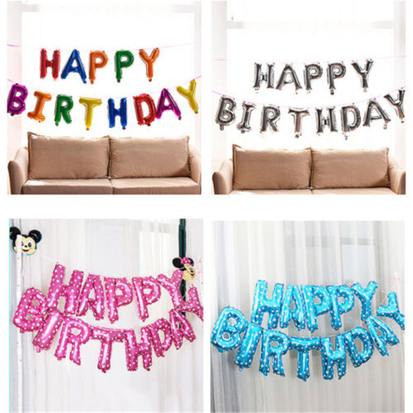 """16/"""" Large Happy Birthday Balloon Self-Inflating Banner Bunting Party Decorations"""