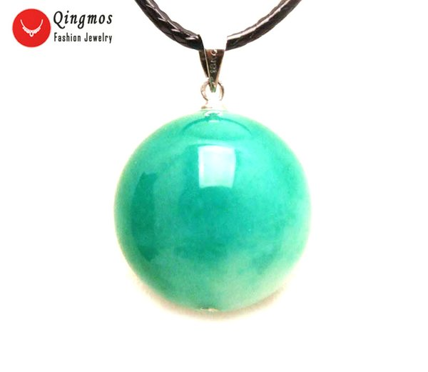 Qingmos Natural Jades Pendant Necklace for Women with 18mm Round Light Green Jades Stone Necklace Jewelry Chokers 17-18'' Cord