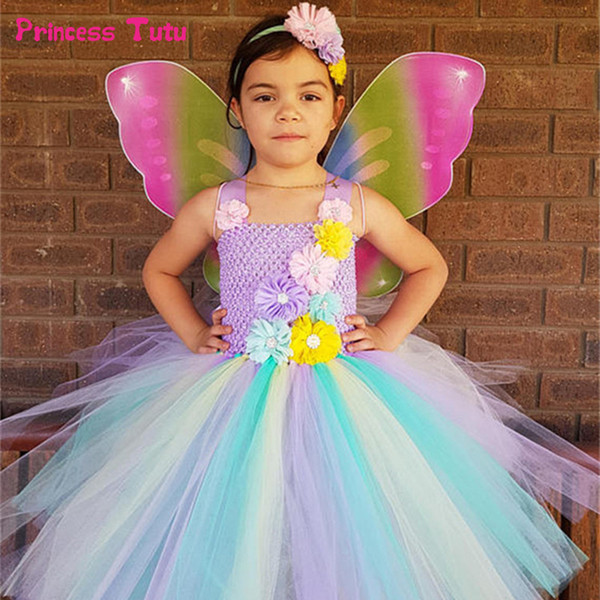 Rainbow Flower Fairy Tutu Dress With Wings Girls Tulle Princess Dress Knee Length Kids Party Dresses For Girls Halloween Costume J190615