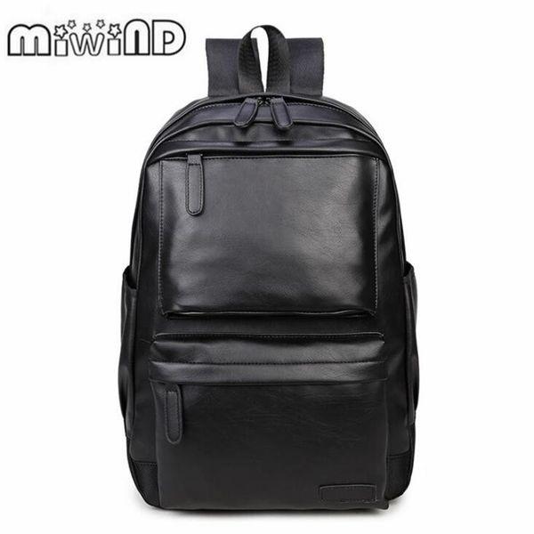 2019 Men Leather Backpack High Quality Youth Travel Rucksack School Book Bag Male Laptop Business bagpack mochila Shoulder BagMX190903