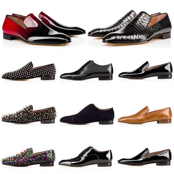 Luxury Mens Designer Dress Shoes Red Bottoms Scarpe casual Scarpe in pelle verniciata opaca Punta rotonda Slip-on Spikes Sneakers piatte da lavoro 38-47