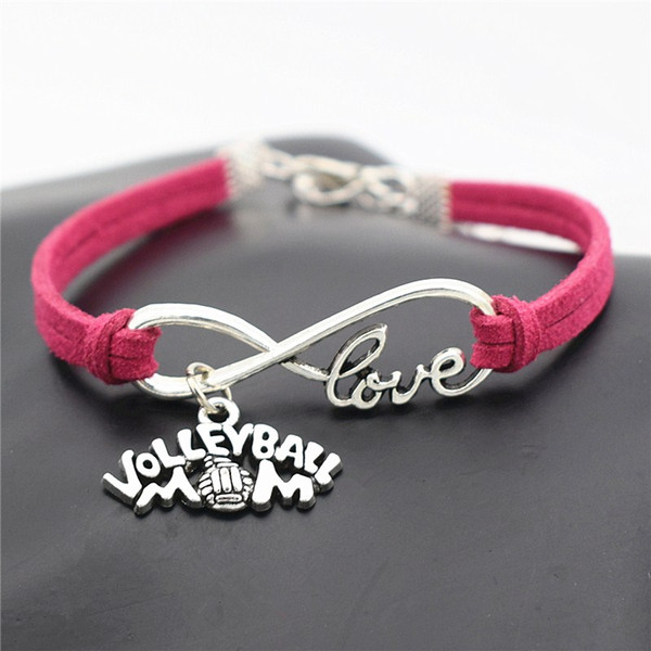 Elegant Shiny Jewelry Silver Plated Infinity Love Volleyball Mom Pendant Charm Bracelets Fine Fashion Red Leather Suede Bangles Top Quality