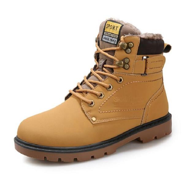 Compre AMSHCA PU Zapatos De Invierno Impermeables Para Hombre Botas De Piel Caliente Doc. Hombres Trabajando Martins Boot Botas De Nieve Ocasionales