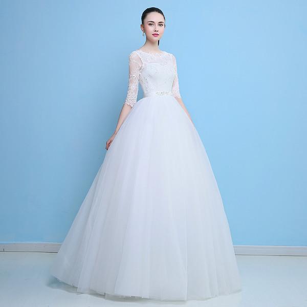 New arrival wedding dress Vestido de Festa dress tulle ball gown long style lace beads 2018 party dresses