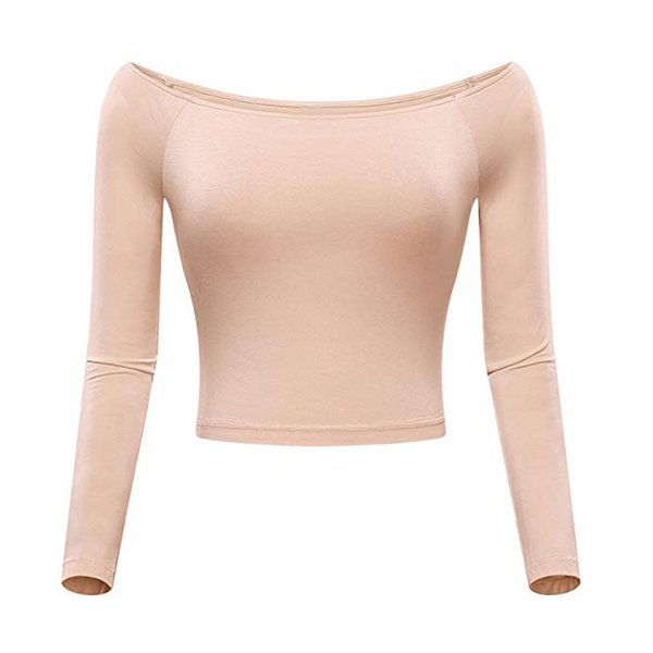 2018 New Sexy Womens Off-Shoulder Slash Neck Solid Long Sleeve Top Fitted Shirt Navel Comfortable top Short wear inside
